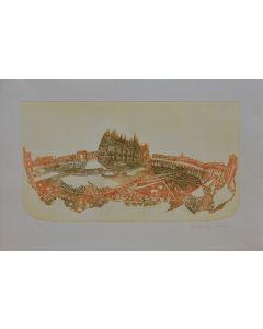 Franchina Tresoldi, Piazza Duomo, acquaforte, 50x60 cm