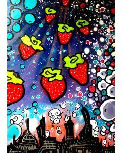 La Pupazza, Pioggia di fragole, acrilico e spray su carta, 50x70 cm