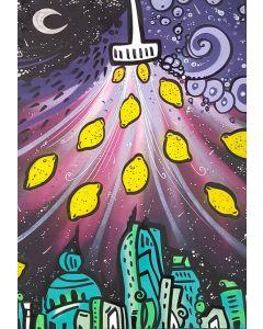 La Pupazza, Pioggia di limoni, acrilico e spray su carta, 50x70 cm