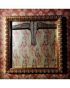 Aria Carelli, Piume, inchiostro su carta, 17x17 cm (con cornice)