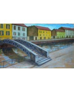 Andrea Ferrari Bordogna, Ponte sul naviglio, olio su tela, 50x80 cm