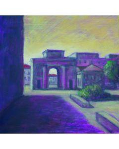 Andrea Ferrari Bordogna, Porta, olio su carta intelata, 32x32 cm