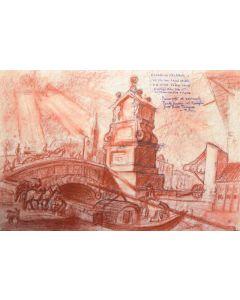 Giancarlo Prandelli, Porta Ticinese, Milano, sanguigna ed inchiostro su cartoncino, 45x30cm (D229)