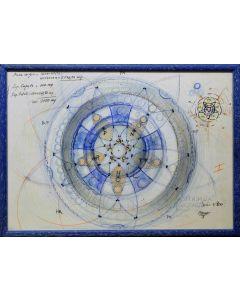 Giancarlo Prandelli, Progetto architettonico per piazza, matita colorata ed inchiostro su carta, 42x29.5cm  (D270)