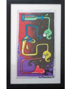 La Pupazza, Bottiglia magica, acrilico e spray su carta, 35x19 cm (44,5x28 cm con cornice)