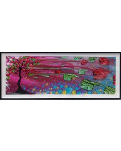 La Pupazza, L'albero di Milano, acrilico e spray su carta, 40x106 cm