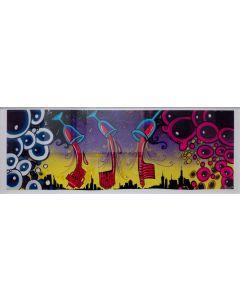 La Pupazza, Palazzi di vino, acrilico e spray su carta, 40x106 cm