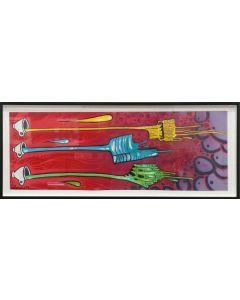 La Pupazza, Milano nelle tazzine, acrilico e spray su carta, 40x106 cm