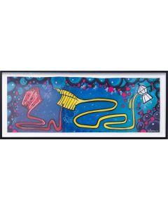 La Pupazza, La moka magica di Milano, acrilico e spray su carta, 40x106 cm