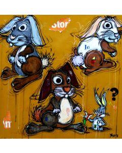 Yux, Rabbits ?, acrilico, pastelli a cera, smalto e manifesti su tela, 50x50 cm
