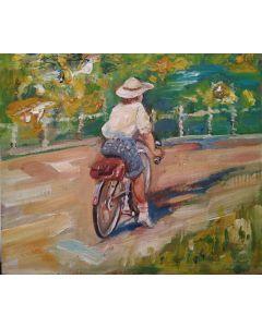 Scuola Francese, Ragazza in bicicletta, olio su tavola, 18x21cm