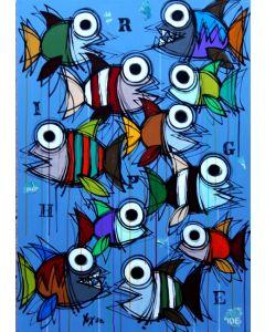Yux, Righe di pesci, acrilico pastelli a cera e manifesti su tela, 80x100 cm