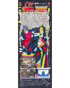Francesco Musante, Rinchiudiamo i nostri sogni, serigrafia materica, 20x50 cm