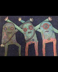 Enrico Baj, Riunione della C.I.A. nel bosco, tecnica mista su base litografica, 70x100 cm, 1973