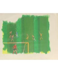 Rossello, Partita di calcio, serigrafia polimaterica, 37x48 cm, 1970