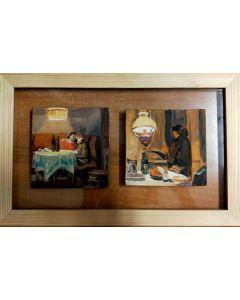 Scuola Francese, Vita di coppia, olio su tavola, 19,8x31,5 cm (con cornice)