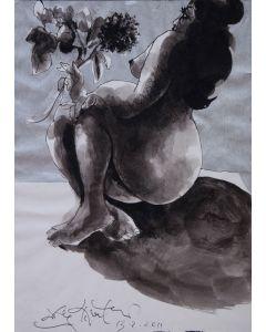 Ercole Pignatelli, Nudo di donna, acquarello su carta, 33x24 cm