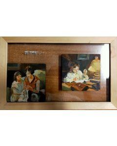 Scuola Francese, Mamma e figlia, olio su tavola, 19,8x31,5 cm (con cornice)