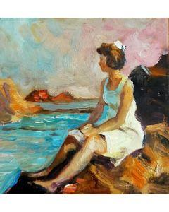 Scuola Francese, Sugli scogli, olio su tavola, 10,2x9,8 cm