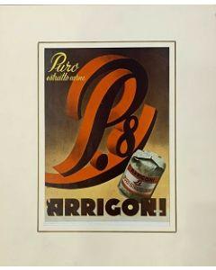 Pubblicità Arrigoni, pagina rivista vintage, 27x38,5 cm (40x48 cm con passepartout)