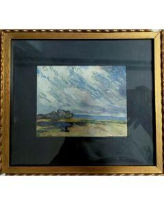 Anonimo, Paesaggio, acquerello su carta, 22x19,5 cm (con cornice), 1924