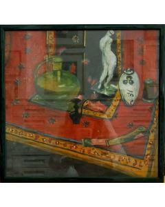 Scuola Espressionista, Soprammobili, tempera su carta, 40,5x38,5 cm (con cornice)