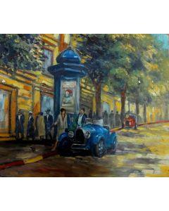 Scuola Francese, Passeggiando per la città, olio su tavola, 17,5x21 cm