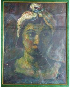 Anonimo, Ritratto, Olio su carta, 39x30,7 cm (con cornice)