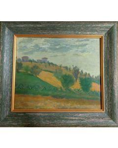 Anonimo, Paesaggio, Olio su tavola, 34,5x30,3 cm (con cornice)