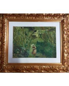 Anonimo, Ragazza nel bosco, Olio su cartone telato, 34,7x40,5 cm (con cornice)