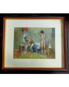 Anonimo, Ballerine, Olio su cartone, 56,5x48 cm (con cornice)