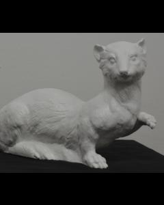 Ottmar Hörl, Ermellino bianco, scultura in plastica, 23x27x15 cm