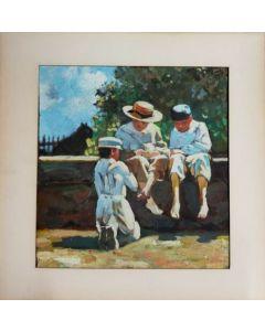 Anonimo, Bambini all'aria aperta, Olio su tavola, 23,5x23,5 cm