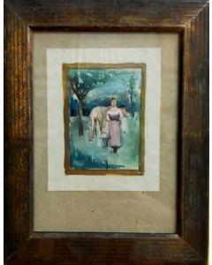 Anonimo, Mungitrice, Acquerello su carta, 23x18,5 cm (con cornice)
