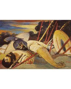Salvatore Fiume, Eneide, Libro IX, Eurialo e Niso, litografia, 60x80 cm, 1989/90