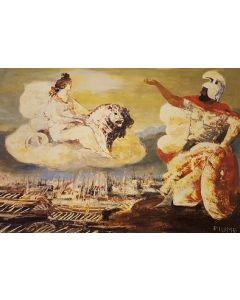 Salvatore Fiume, Eneide, Libro X, Invocazione della dea Cibele, litografia, 60x80 cm, 1989/90