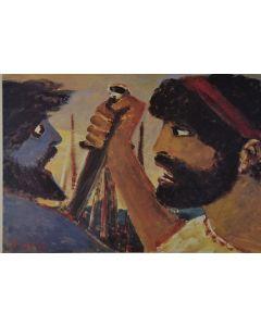 Salvatore Fiume, Eneide, Libro XII, Enea uccide Turno, litografia, 60x80 cm, 1989/90