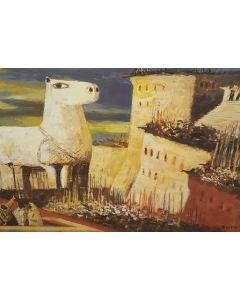 Salvatore Fiume, Eneide, Libro II, Apparizione all'alba del cavallo di Troia, litografia, 60x80 cm, 1989/90