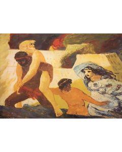 Salvatore Fiume, Eneide, Libro II, Enea e Anchise, litografia, 60x80 cm, 1989/90