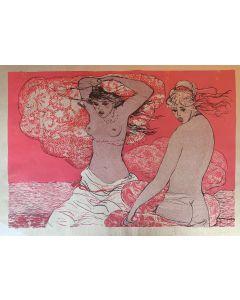 Salvatore Fiume, Due Ragazze, serigrafia su carta dorata, 70x50 cm