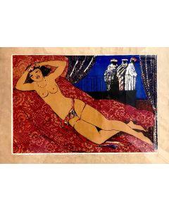 Salvatore Fiume, Odalisca, serigrafia su carta pergamena, 70x50 cm