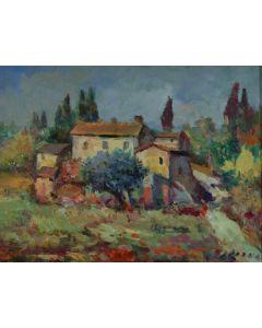 Antonio Sbrana, A Nugola Vecchia, olio su tavola, 30x40 cm