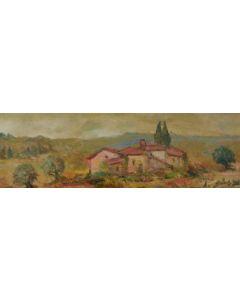 Antonio Sbrana, Case agricole in Val di Chiana, olio su tavola, 60x19,5 cm