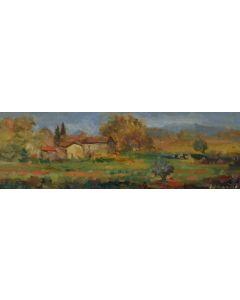 Antonio Sbrana, Paesaggio toscano, olio su tavola, 60x19,5 cm