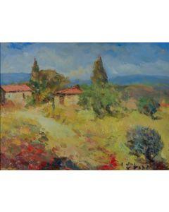 Antonio Sbrana, Giornata silenziosa di luce in Maremma, olio su tavola, 41x30,5 cm