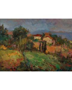 Antonio Sbrana, Senza titolo, olio su tavola, 34x44 cm