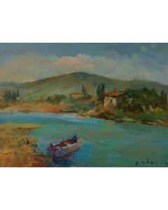 Antonio Sbrana, Sul fiume, olio su tavola, 41x30,5 cm