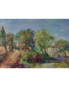 Antonio Sbrana, La casa del pastore di Val di Chiana, olio su tavola, 70x51 cm