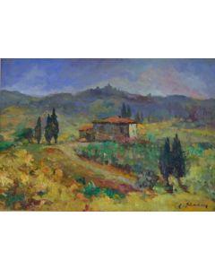 Antonio Sbrana, Colli toscani, olio su tavola, 70x51 cm