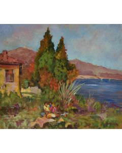 Antonio Sbrana, Merenda nel Golfo, olio su tavola, 70x60 cm